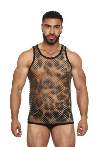 Greek Fishnet Tank (large holes) LEOPARD - Black Unicorn