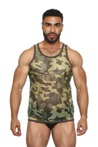 Greek Fishnet Tank (small holes) GREEN CAMO - Black Unicorn