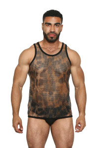 Greek Fishnet Tank (small holes) LEOPARD - Black Unicorn