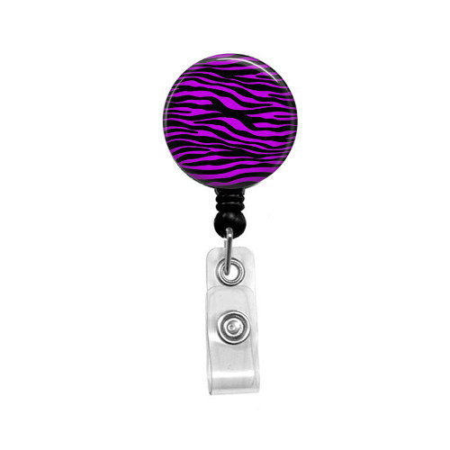 Purple and Black Zebra Mylar Retractable ID Badge Reel