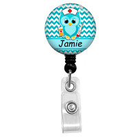 Personalized Name Aqua Owl Nurse Mylar| Retractable ID Badge Reel