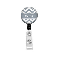 Personalized Name Grey Chevron Mylar| Retractable ID Badge Reel