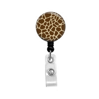 Giraffe Animal Print Mylar Retractable ID Badge Reel