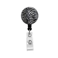 Black and White Zebra Mylar Retractable ID Badge Reel