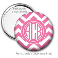 Pink Chevron Monogrammed Pocket Mirror