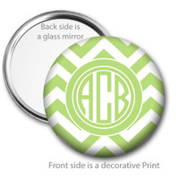 Lime Chevron Monogrammed Pocket Mirror