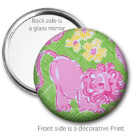 Lion Floral Pocket Mirror
