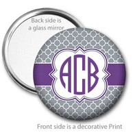 Grey Purple Quatrefoil Monogrammed Pocket Mirror
