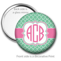 Mint Green Quatrefoil Monogrammed Pocket Mirror