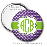 Purple Lime Quatrefoil Monogrammed Pocket Mirror