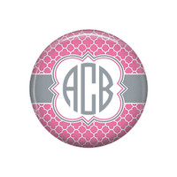 Pink Grey Quatrefoil Monogrammed Pocket Mirror