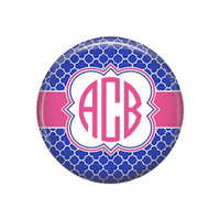 Royal Blue Pink Quatrefoil Monogrammed Pocket Mirror