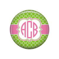 Lime Green Pink Quatrefoil Monogrammed Pocket Mirror