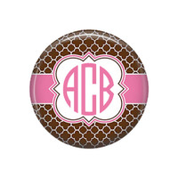 Brown Pink Quatrefoil Monogrammed Pocket Mirror