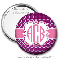 Purple Pink Quatrefoil Monogrammed Pocket Mirror