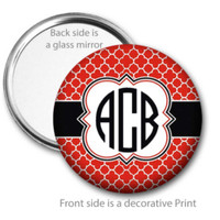 Black Red Quatrefoil Monogrammed Pocket Mirror