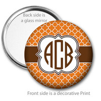 Orange Brown Quatrefoil Monogrammed Pocket Mirror