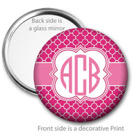 Hot Pink Quatrefoil Monogrammed Pocket Mirror