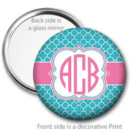 Aqua Blue Pink Monogrammed Pocket Mirror