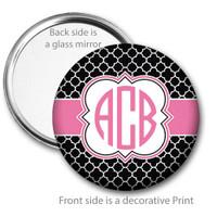 Black Pink Quatrefoil Monogrammed Pocket Mirror
