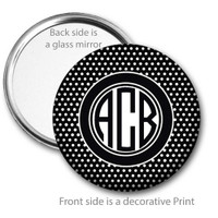 Black White Swiss Dot Monogrammed Pocket Mirror