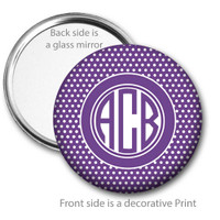 Purple White Swiss Dot Monogrammed Pocket Mirror