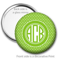Lime White Swiss Dot Monogrammed Pocket Mirror