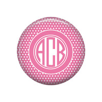 Pink White Swiss Dot Monogrammed Pocket Mirror