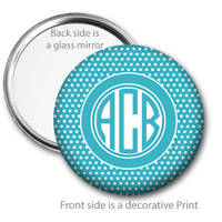 Aqua Blue White Swiss Dot Monogrammed Pocket Mirror