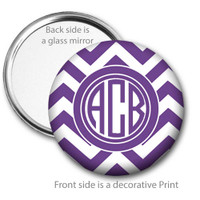 Purple Chevron Monogrammed Pocket Mirror