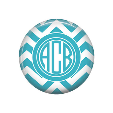 Aqua Blue Chevron Monogrammed Pocket Mirror