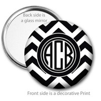 Black Chevron Monogrammed Pocket Mirror