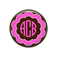 Pink and Brown Flower Monogrammed Pocket Mirror