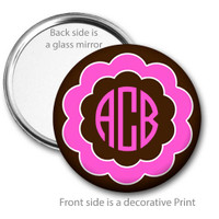 Pink and Brown Flower Monogrammed Pocket Mirror