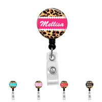 Personalized Name Retractable Badge Reel Holder ID Clip You Pick The Name and Color