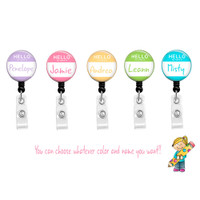 Hello My Name Is Personalized ID Badge Reel