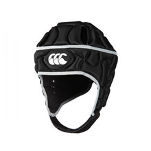 Keep protection top of mind with the Canterbury Club Plus Rugby Scrum Cap. Available in black with silver CCC logo and striping.