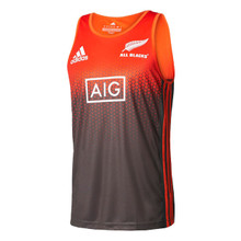 New Zealand All Blacks 2017/18 Performance Rugby Training Singlet - Energy Orange/Dark Grey