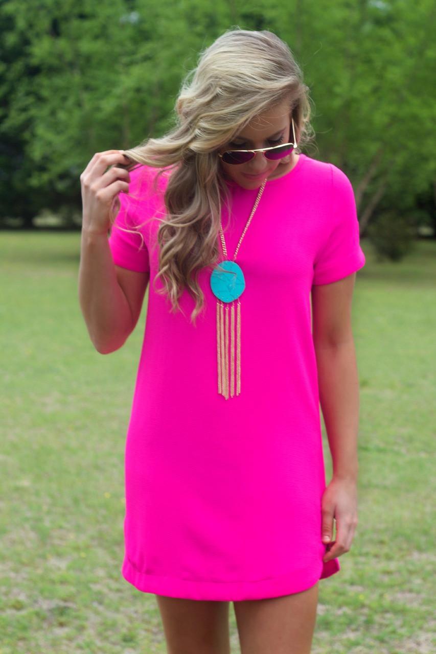 It's A Date Dress | Hot Pink | Shift Dress | Lavish Boutique