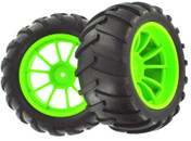 HSP RC CAR PARTS 08010 Green Wheel Complete 2 pcs 1/10 Scale For HSP Nitro RC Monster Truck