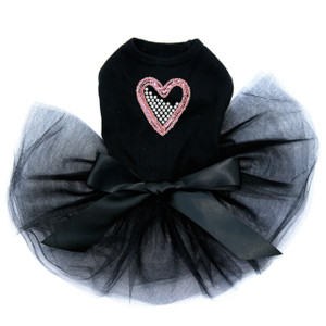 Pink Sequin & Rhinestone Heart black dog tutu for large and small dogs.