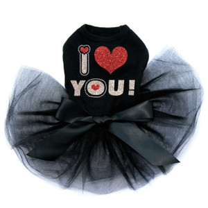 Love You #2 black dog tutu for large and small dogs.