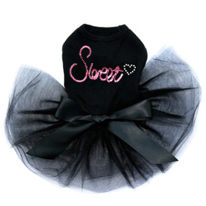 Sweet - Pink Sequins black dog tutu for large and small dogs.