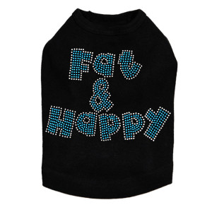 "Fat & Happy dog tank for large and small dogs. 6"" X 4"" design with blue & clear rhinestones.."