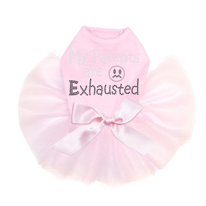 My Parents are Exhausted rhinestone dog tutu for large and small dogs.