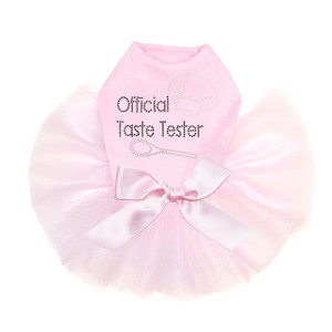 Official Taste Tester rhinestone dog tutu for large and small dogs.