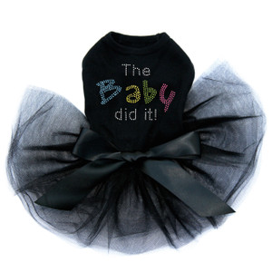 The Baby Did It rhinestone dog tutu for large and small dogs.
