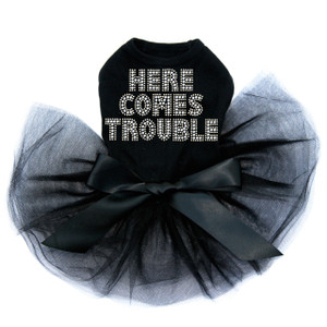 Here Comes Trouble rhinestone dog tutu for large and small dogs.