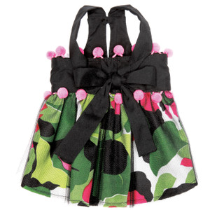 Bold print skirt made of a silk/cotton blend and a black tulle overlay combine with pink pom poms for a fun, flirty look.  Dress has Velcro adjustable waist and adjustable straps for an easy fit.  Made in the USA.