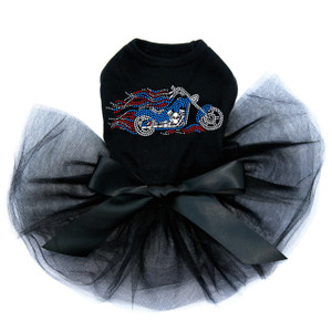 Motorcycle - Large Red, White, & Blue with Flames - Tutu